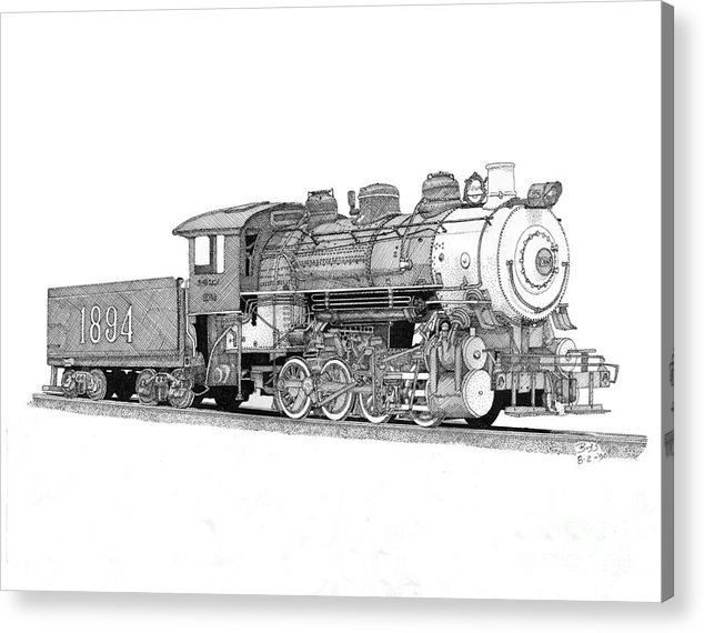 Locomotive Acrylic Print featuring the drawing Steam Switcher Number 1894 by Calvert Koerber