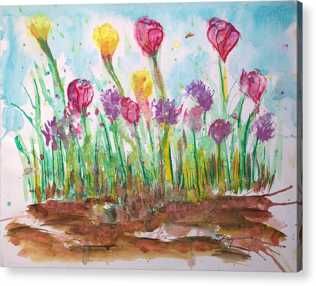 Flowers Acrylic Print featuring the painting Blooming Colors by J R Seymour