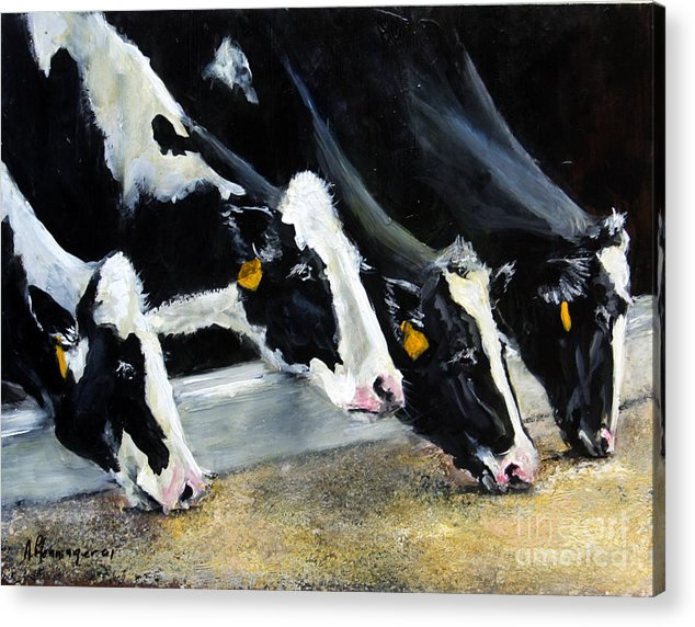 Cattle Acrylic Print featuring the painting Hungry Holsteins by Adele Pfenninger