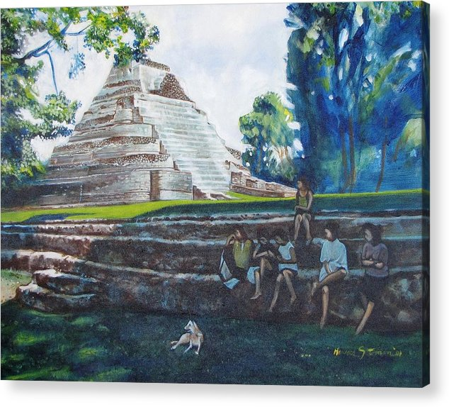 Sunny Afternoon In The Shade Acrylic Print featuring the painting Myan Temple by Howard Stroman