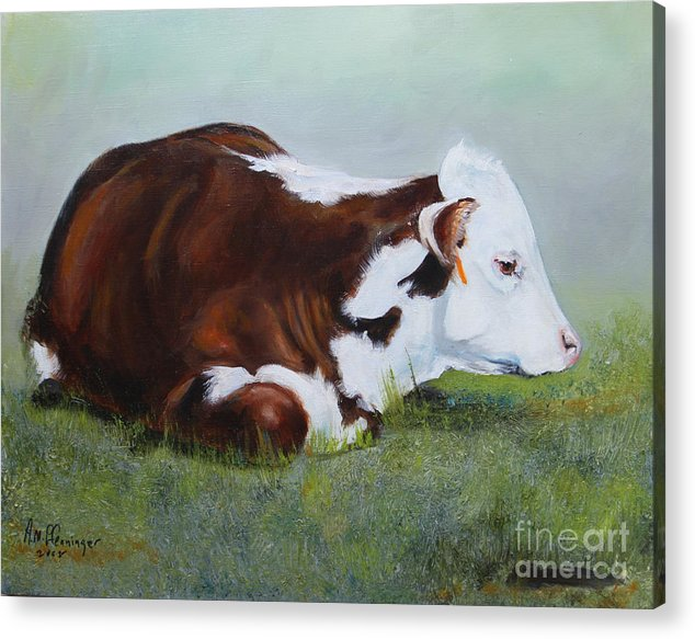 Cattle Acrylic Print featuring the painting Polled Hereford Baby by Adele Pfenninger