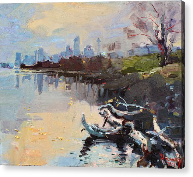 Landscape Acrylic Print featuring the painting A Quiet End Of Day by Ylli Haruni