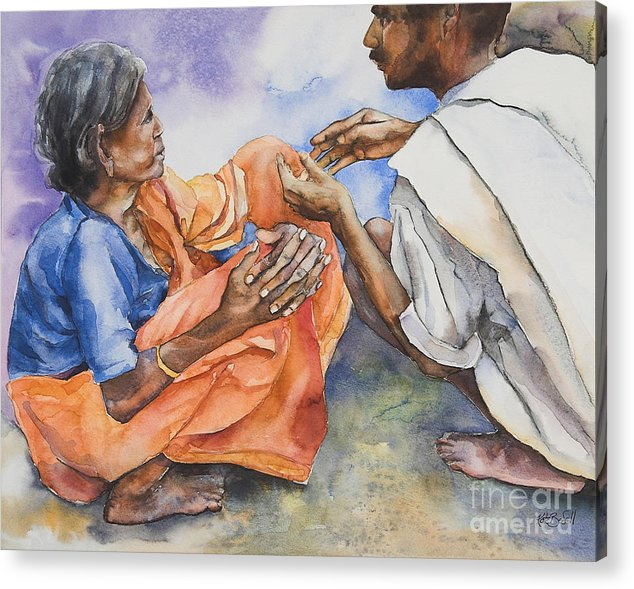 Indian Acrylic Print featuring the painting Old Hands by Kate Bedell