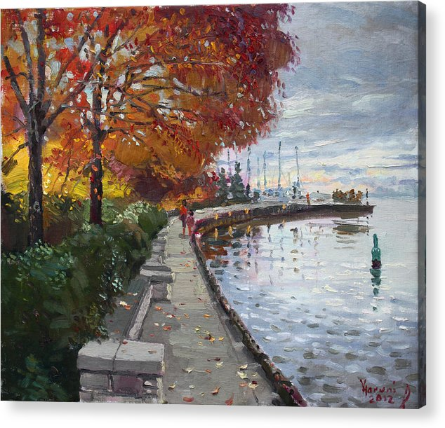 Port Credit Acrylic Print featuring the painting Fall In Port Credit On by Ylli Haruni