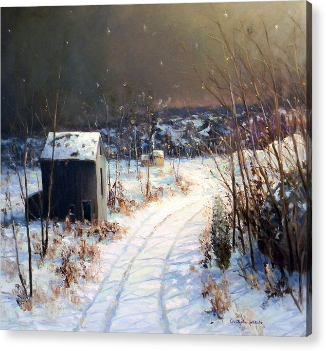 Willett Acrylic Print featuring the painting Winter Sleep North On River Road Bucks County by Christopher Willett