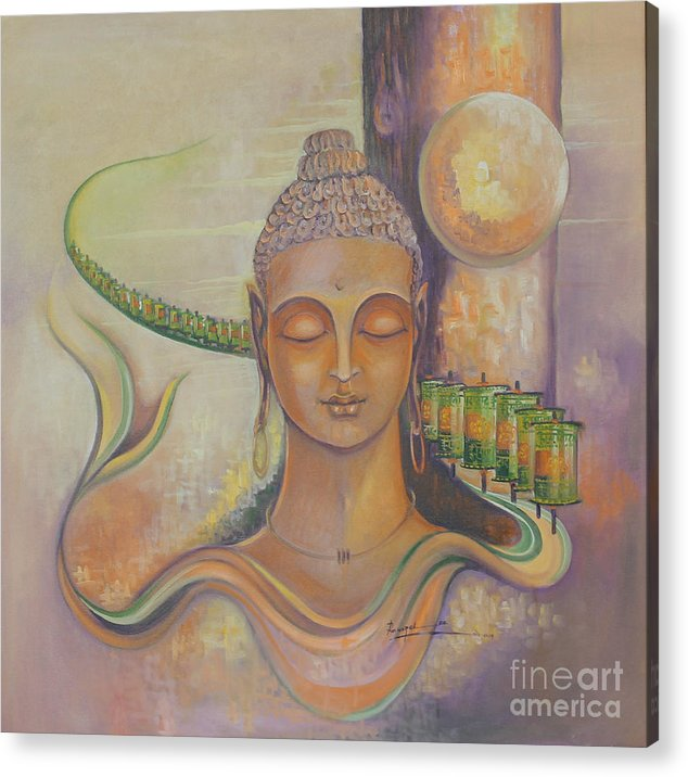 Buddha The Divine Acrylic Print featuring the painting Buddha The Divine by Rakesh Hazela
