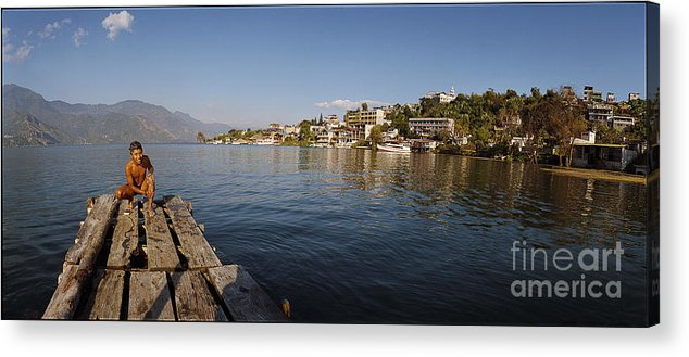 C123305 Acrylic Print featuring the photograph Bathing At Lake Atitlan by Ty Lee