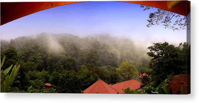La Paz Acrylic Print featuring the photograph Early Morning Mist Over The Rain Forest by Michael Kogan
