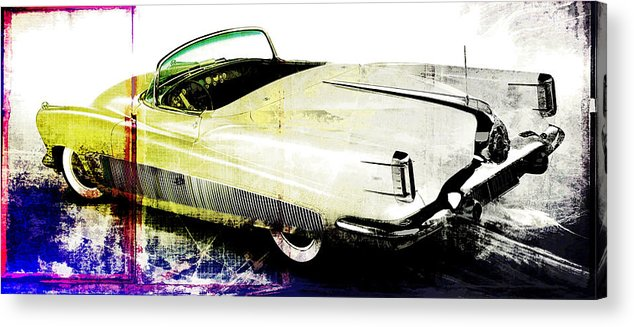 Vintage Acrylic Print featuring the digital art Grunge Retro Car by David Ridley
