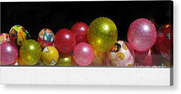 Still Life Acrylic Print featuring the photograph Colorful Balls In The Shop Window by Ausra Huntington nee Paulauskaite