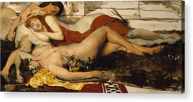 Nude Acrylic Print featuring the painting Exhausted Maenides by Sir Lawrence Alma Tadema