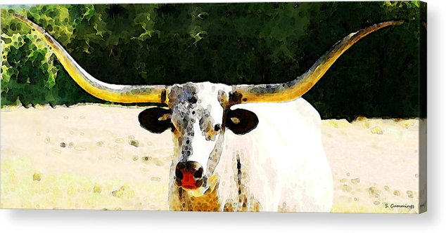 Cow Acrylic Print featuring the painting Texas Longhorn - Bull Cow by Sharon Cummings