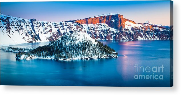 America Acrylic Print featuring the photograph Winter Morning At Crater Lake by Inge Johnsson
