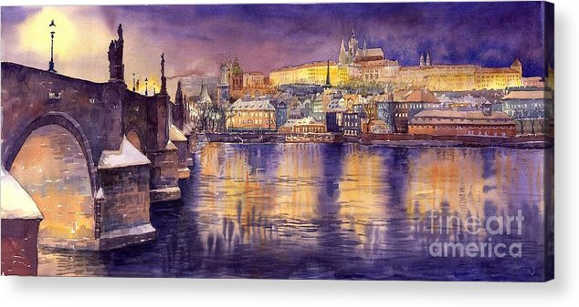 Cityscape Acrylic Print featuring the painting Charles Bridge And Prague Castle With The Vltava River by Yuriy Shevchuk