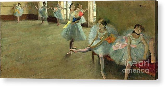 Dancers In The Classroom Acrylic Print featuring the painting Dancers In The Classroom by Edgar Degas