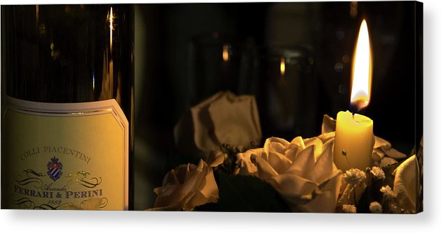 Wine Acrylic Print featuring the photograph Wine And Candle by Andrea Barbieri