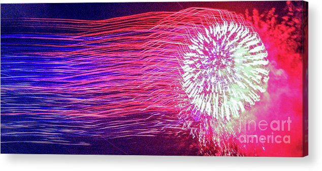 Fireworks Acrylic Print featuring the photograph Fireworks In Abstract 2019 by D Davila
