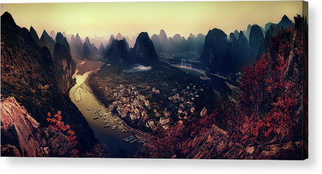 Panorama Acrylic Print featuring the photograph The Karst Mountains Of Guangxi by Clemens Geiger