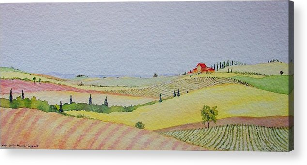 Watercolor Acrylic Print featuring the painting Tuscan Hillside Three by Mary Ellen Mueller Legault