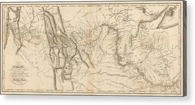 photo about Lewis and Clark Printable Map called Antique Map - Lewis And Clarks Observe Throughout North The usa Acrylic Print