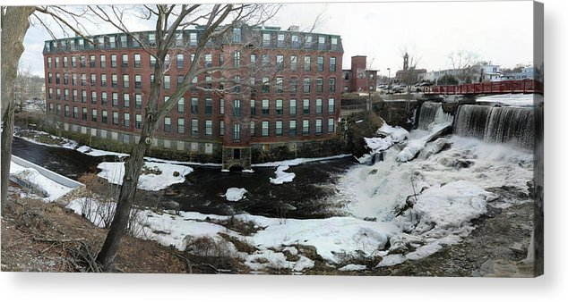 Spicket River Acrylic Print featuring the photograph Spicket River Dam Condos by Michael Heaton