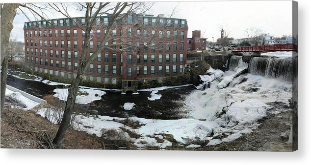 Spicket River Dam Acrylic Print featuring the photograph Spicket River Mill Condo by Michael Heaton