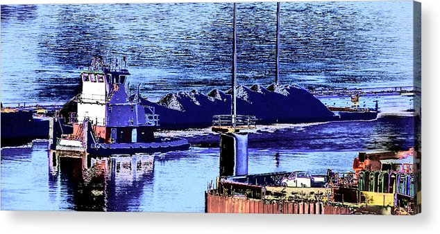 Abstract Acrylic Print featuring the photograph Tug Reflections by Rachel Christine Nowicki