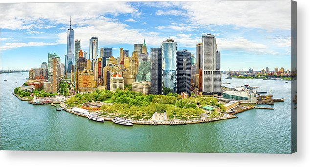 New York Acrylic Print featuring the photograph Aerial Panorama Of Downtown New York Skyline by Mihai Andritoiu