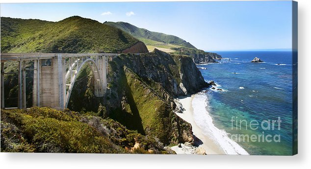Bixby Bridge Acrylic Print featuring the photograph Bixby Bridge Near Big Sur On Highway One In California by Artist and Photographer Laura Wrede
