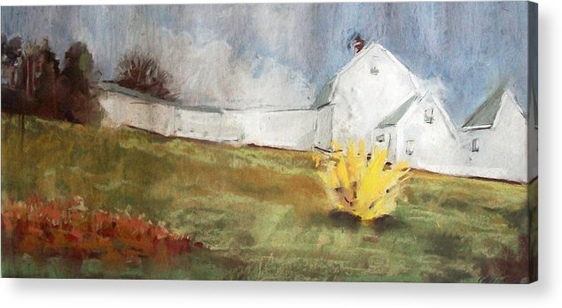 Maine Landscape Acrylic Print featuring the pastel Slowly Comes Spring by Grace Keown