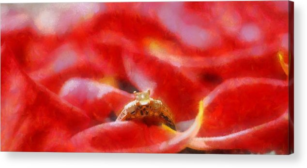 Engagement Ring On Rose Petals Acrylic Print featuring the painting The Engagement by Dan Sproul