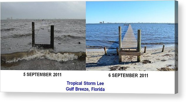 Difference Acrylic Print featuring the photograph Tropical Storm Lee Difference A Day Makes by Jeff at JSJ Photography