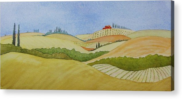 Italy Acrylic Print featuring the painting Tuscan Hillside Two by Mary Ellen Mueller Legault