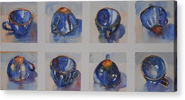 Blue Cups Acrylic Print featuring the painting Blue Cups In Eight by Sukey Watson