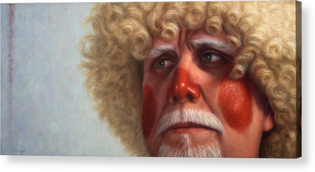 Clown Acrylic Print featuring the painting Concerned by James W Johnson
