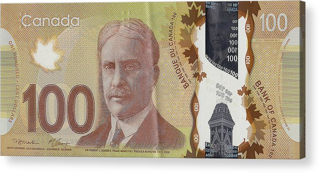 New One Hundred Canadian Dollar Bill Acrylic Print