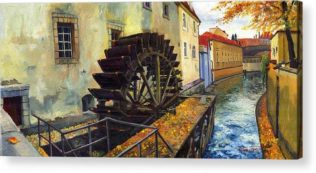 Prague Acrylic Print featuring the painting Prague Chertovka by Yuriy Shevchuk