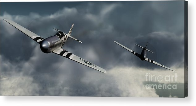 Warbirds Acrylic Print featuring the digital art Riding The Storm by Richard Rizzo