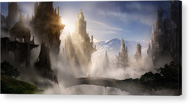 Game Art Acrylic Print featuring the digital art Skyrim Fantasy Ruins by Alex Ruiz