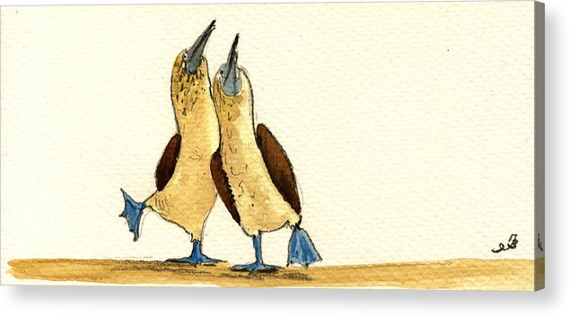 Blue Footed Booby Acrylic Print featuring the painting Blue Footed Boobies by Juan Bosco