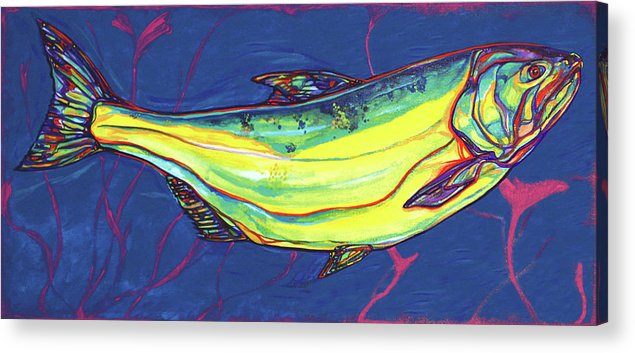 Salmon Acrylic Print featuring the painting Salmon Of Knowledge by Derrick Higgins