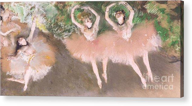 Scene; Ballet; Impressionist; Dance; Dancer; Dancers; Dancing; Ballerina; Ballerinas; Print; Printmaking; Green; Pink; Movement; Grace; Performance; Entertainment; Paris; Parisian; Belle Epoque; Tutu; Tutus; Female; En Pointe; Impressionistic Acrylic Print featuring the pastel Scene De Ballet by Edgar Degas