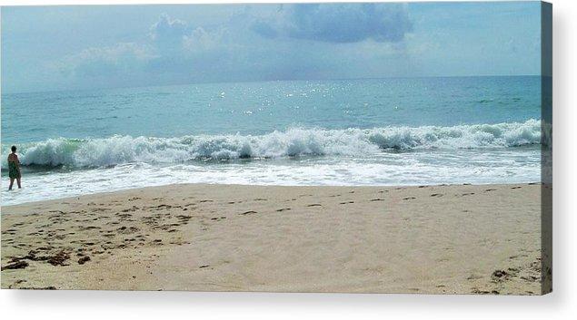 Beach Acrylic Print featuring the photograph Waves At Vero Beach Fl by Nancy Hopkins