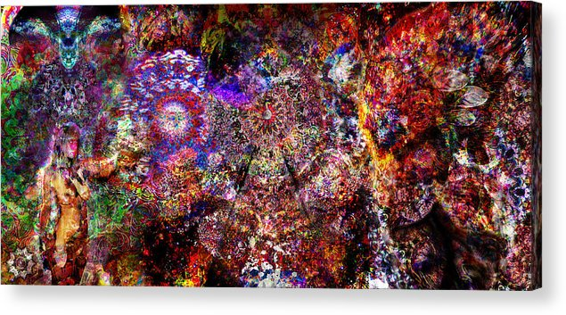 Psychedelic Acrylic Print featuring the digital art Lost In The Fire by Gray Hensarling