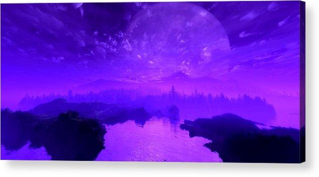 Landscape Acrylic Print featuring the digital art Purple Mist by Bogdan Floridana Oana