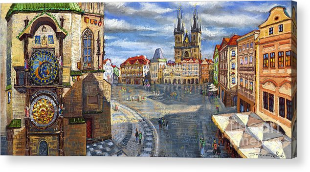 Pastel Acrylic Print featuring the painting Prague Old Town Squere by Yuriy Shevchuk