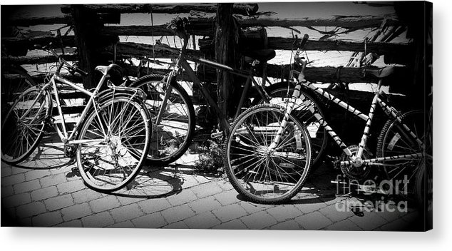 Bike Acrylic Print featuring the photograph Black And White Leaning Bikes by Emily Kelley