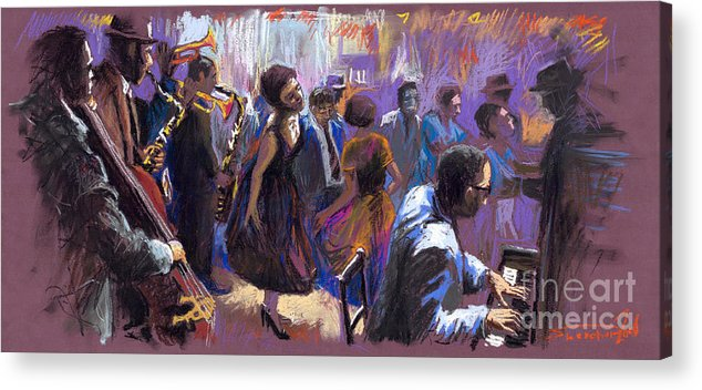 Jazz.pastel Acrylic Print featuring the painting Jazz by Yuriy Shevchuk