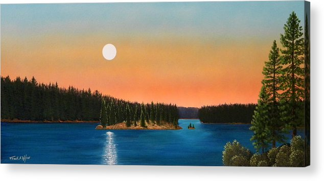 Landscape Acrylic Print featuring the painting Moonrise Over The Lake by Frank Wilson