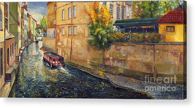 Oil.prague Acrylic Print featuring the painting Prague Venice Chertovka 2 by Yuriy Shevchuk